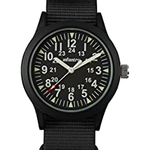 INFANTRY Mens Army Military Field Analog Watch Black Nylon Quartz Wrist Watches for Men 12/24Hr