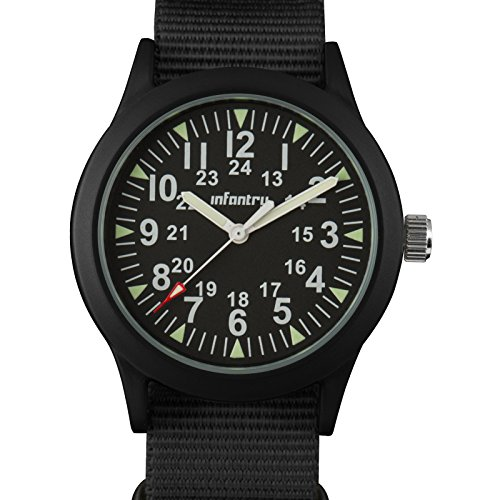 INFANTRY Mens Army Military Field Analog Watch Black Nylon Quartz Wrist Watches for Men - Watch Discounts Shop
