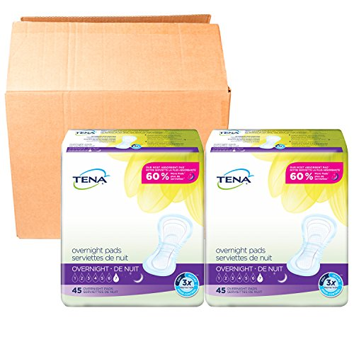 Tena Overnight pads 45ct (2 Pack), Packaging may vary