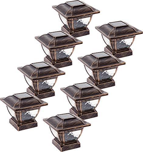 Paradise GL28998BZ Solar Cast Aluminum LED Post Cap Light for 4x4 Wood Posts (Bronze, 8 Pack)