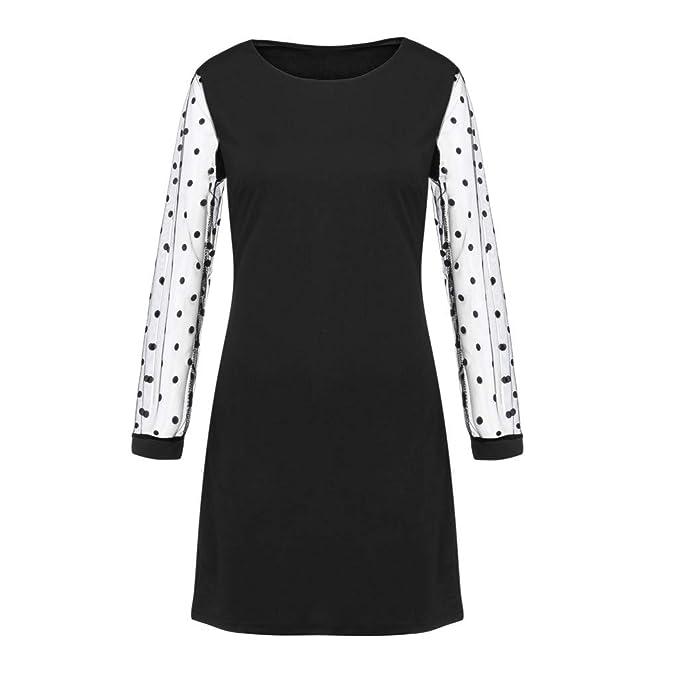 Amazon.com: AIMTOPPY Womens Round Neck Long-Sleeved Mesh ...