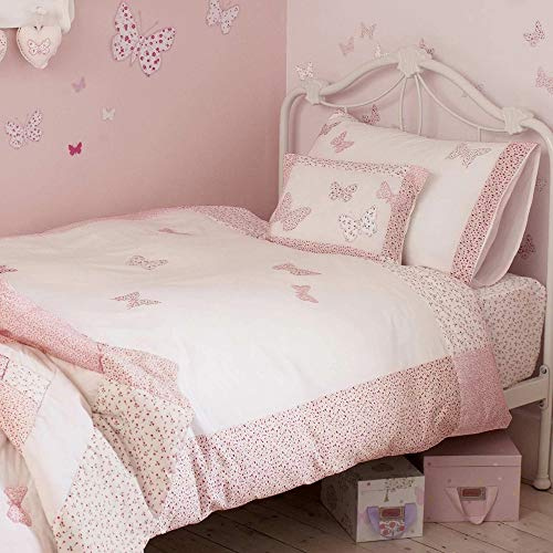 HORIMOTE HOME Girls Duvet Cover Queen,100% Percale Cotton, Pink Butterfly Embellished and Flower Print Cute Duvet Cover for Little Teen Girls Kids, 90