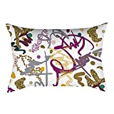 Pgojuni Rectangle Merry Christmas Pillow Case Sofa Waist Linen Blend Pillow Cover Cushion Cover Home Decor 1pc 30cmx50cm (J)