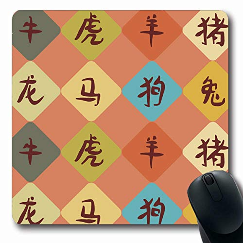 Ahawoso Mousepad for Computer Notebook Horoscope Blue Asian Hieroglyphs That Mean Green Gray Astrology Calendar Dog Design Oblong Shape 7.9 x 9.5 Inches Non-Slip Gaming Mouse Pad