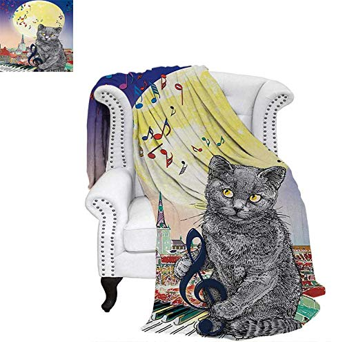 Summer Quilt Comforter Musical Notes Cat with The Keyboard on Rooftops in Night Sky Old Town Full Moon Art Print Digital Printing Blanket 90