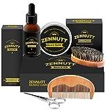Beard Kit for Men Gifts Beard Grooming & Trimming Kit w/Unscented Beard Growth Oil + Balm + Beard Brush + Beard Comb + Beard & Mustache Scissors for Beard Trimmer Shaping Moisturizing