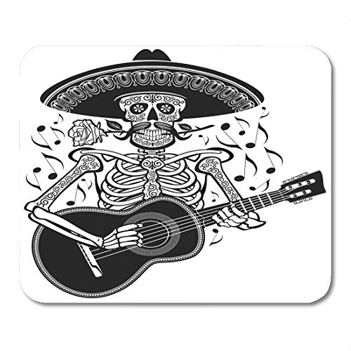 Emvency Mouse Pads Dead Mexican Mariachi Skeleton Wearing Sombrero and Playing Guitar Skull Musician Mouse pad 9.5