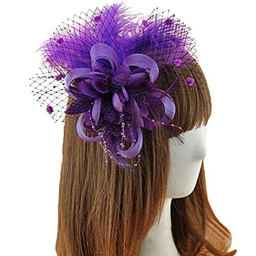 Coolr Fascinator Hair Clip Feather Wedding Headwear Bridal Headpiece for Women ( Purple) (Cute Flapper Costumes)