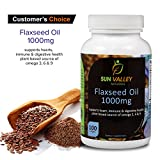Organic Flaxseed Oil Softgels 1000mg High Potency with Omega 3,6,9 100 Softgels Non GMO by Sun Valley Naturals