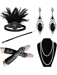 1920s Accessories Headband Earrings Necklace Gloves Cigarette Holder Flapper Costume Accessories Set for Women