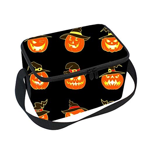 Waterproof Kids Insulated Lunch Portable Carry Tote Halloween Pumpkins Hat Picnic Storage Bag