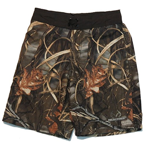 Realtree Boys Brown Camo Swimsuit Trunks Shorts Size M 8