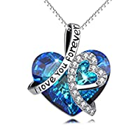 """Sterling Silver """"I Love You Forever"""" Heart Pendant Necklace with Swarovski Crystals Jewelry for Women"""