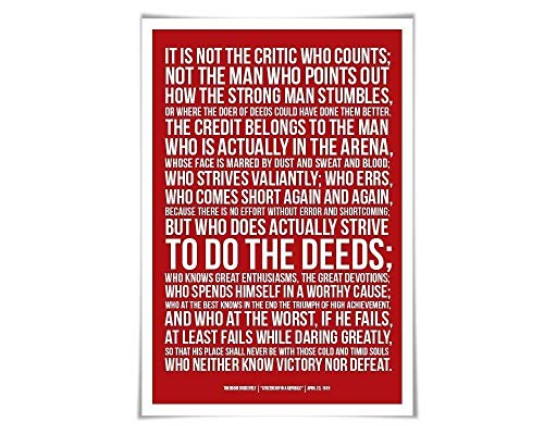 Theodore Roosevelt Man in the Arena Speech. 60 Colours/3 Sizes. American History. Presidential Speech
