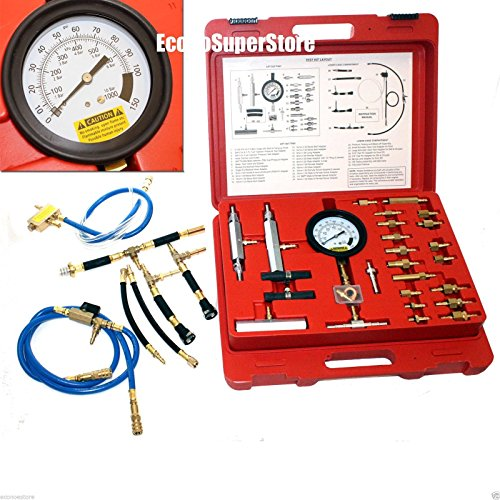 Master Fuel Injection Pump Pressure Test Kit CISE CIS Metric SAE with 100 PSI fuel pressure gauge with quick release valve