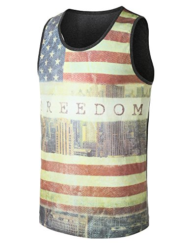 URBANCREWS Mens Hipster Hip Hop American Flag Freedom Tank Top FREEDOM MEDIUM