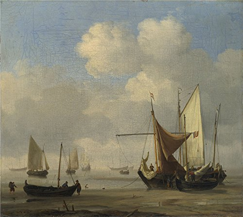 Oil Painting 'Willem Van De Velde Small Dutch Vessels Aground At Low Water In A Calm ' Printing On Polyster Canvas , 18 X 20 Inch / 46 X 51 Cm ,the Best Bedroom Gallery Art And Home Gallery Art And Gifts Is This Replica Art DecorativeCanvas Prints