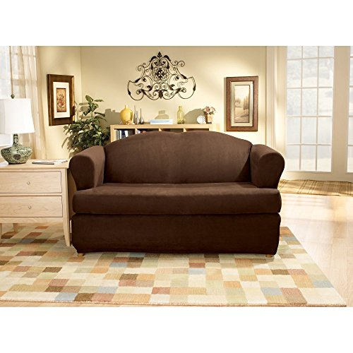 Sure Fit Stretch Suede T-Cushion Two Piece Loveseat - Slipcovers T Cushion Loveseat