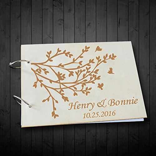 Country Willow Personalized Name and Date Wedding Scrapbook Albums Wedding Guest Book Alternative Memory Photo Book 8 x 12 inches Wedding Gifts for Bride and Groom