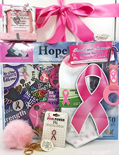 Breast Cancer Gift Set Box Basket for Breast Cancer Awareness Survivor Get Well Fighter Patient Nurse Advocate Social Worker Educator Pink Ribbon Early Detection Woman Mom Grandma Friend Sister by Specialty Gift Boxes