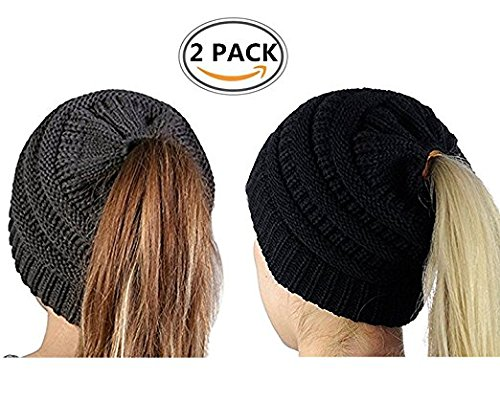 Ponytail Beanie Hats BeanieTail Womens Soft Stretch Cable Knit Messy High Bun Cap,2 Pack