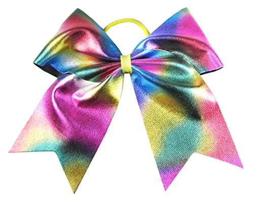 "HipGirl Boutique Girls Women 6"" Jumbo Large Cheer Bow Elastic Hair Tie Ponytail Holder for High School College Cheerleading (2pc 6"" Metallic Cheer Bow--Rainbow Pastel)"