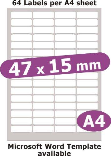 Minilabel 47X15mm , 320 Labels , Matt Paper , 5 A4 Sheets , Laser Copier Inkjet Stickers