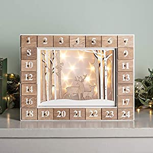 PIONEER-EFFORT Christmas Wooden Winter Scene Advent Calendar with 24 Drawers with LED Lights Countdown to Christmas Decoration 13.9 x 2.3 x 10.6