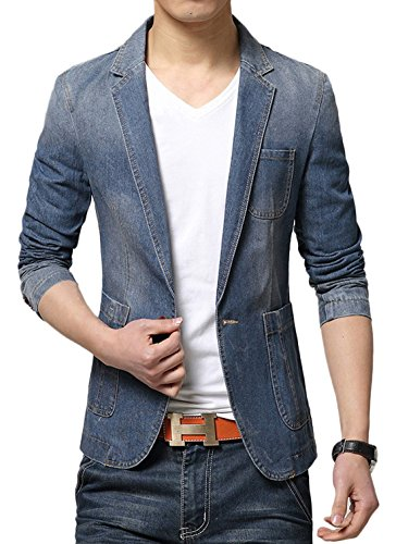Distressed Blazer (Chouyatou Men's Classic One-Button Lapel Unlined Denim Suit Jacket (Medium,)