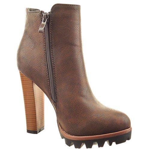 Sopily - Zapatillas de Moda Botines chelsea boots zapatillas de plataforma Tobillo mujer acabado costura pespunte Talón Tacón ancho alto 12 CM - Marrón