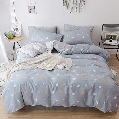 VM VOUGEMARKET Queen Duvet Cover Set Star Moon Pattern,100% Cotton Universe Theme Full Bedding Sets,Reversible Comforter Cover for Kids Teens-Queen,Universe