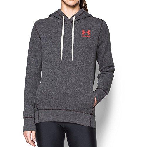 Under Armour Women's Favorite Fleece Big Logo Hoodie,Carbon Heather (090)/Marathon Red, Large