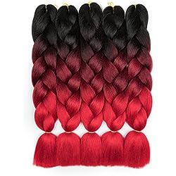 Alissa braiding hair jumbo braids hair synthetic box hair high temperature kanekalon hair for braids 5PCS/Lot 100g/Pc 24 inch(60CM). ( Black-Wine Red-Red)