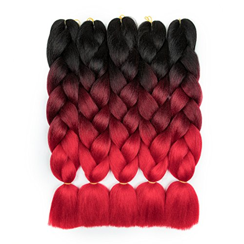 Alissa 24Inch 5pcs Black-Wine Red-Red Ombre Kanekalon Jumbo Braiding Hair Extensions Syntehtic Hair High Temperature Braids (Best Color To Ombre Black Hair)