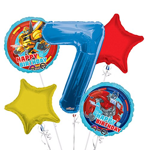 Transformers Happy Birthday Balloon Bouquet 7th Birthday 5 pcs - Party -
