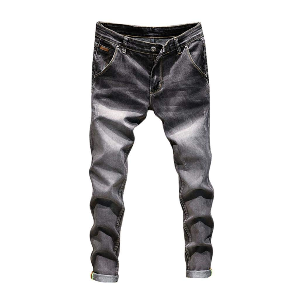 Realdo Hot!Clearance Sale!Mens Daily Casual Jeans, Vintage Wash Durable Work Trousers Jeans Pants (28,Gray)