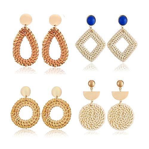 4 Pairs Rattan Dangle Earrings for Women Girls Boho Woven Straw Wicker Braid Earrings Handmade Geometric Lightweight Drop Statement Earrings (Style A)