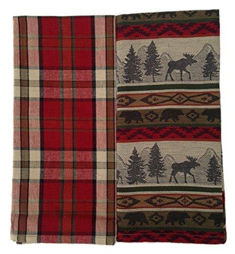 Woodland Dish Towel - DII Kitchen Towel Set of 2 Jacquard Towels, Plaid Dishtowel & Woodland Animal Towel