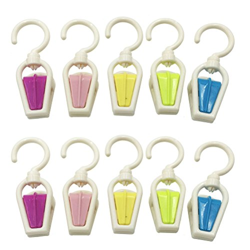 Mmei Set of 10 Plastic Fashion Color Collection Swivel Laundry Hooks Clothes Pins Hanging Clips Hanger Home Travel Portable