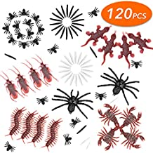 VIVREAL 120 Pieces Plastic Realistic Bugs, Party Favors and Decoration, Insects Toy Assortment, Fake Cockroaches, Spiders, Worms, Scorpions, Centipedes, Geckos, Small, Black