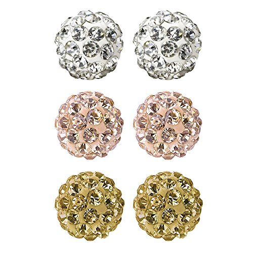 Value Pack, Bling Bling Rhinestones Crystal Fireball Disco Ball Ball Stud Earrings, Stainless Steel, Hypoallergenic (Set M. 8mm x 3 Pairs (White, Rose Gold, Gold)) 8mm Ball Stud Earrings