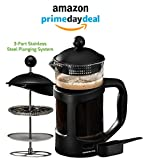 Kitchen & Housewares : Ovente French Press Cafetière Coffee and Tea Maker, Heat-Resistant Borosilicate Glass, 34 oz (1005 ml), 8 cup, Black (FPT34B), FREE Measuring Scoop
