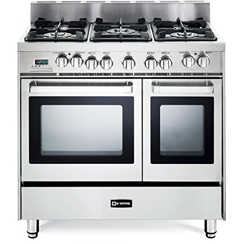 Verona VEFSGE365NDSS 36″ Pro-Style Dual-Fuel Range with 5 Sealed Burners, 2 European Convection Ovens, Multi Function Programmable Ovens and Storage Drawer: Stainless Steel