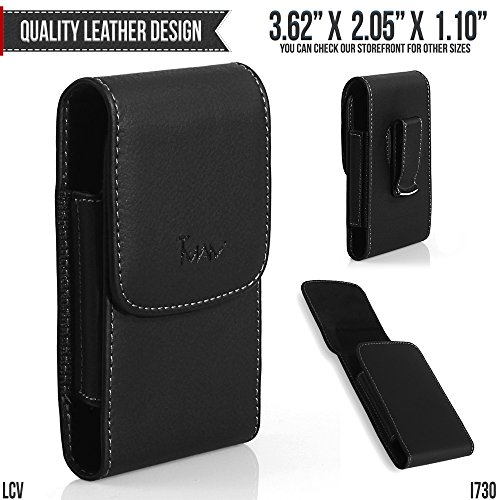 PCD CDM-8945 Belt Pouch, TMAN [Leather Vertical] Metal Clip Holster / Magnetic Closure Case, Cover with Belt Loop Carrying Protective - Fits Cellphone without any Case ()