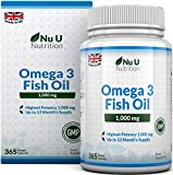 Omega 3 Fish Oil 1000mg 365 Softgels 1 Year Supply   Pure Fish Oil with Balanced EPA & DHA   Contaminant Free with Omega 3   Made in the UK by Nu U Nutrition