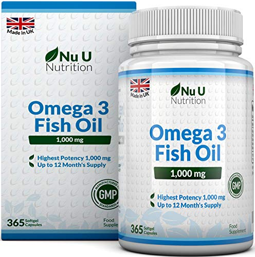 Omega 3 Fish Oil 1000mg 365 Softgels, Pure Fish Oil with Balanced EPA & DHA...