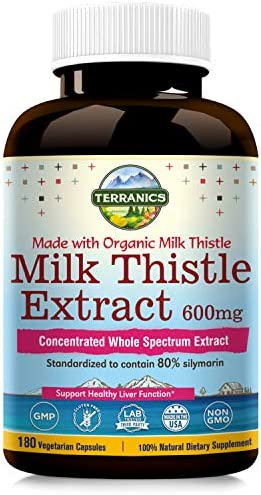 Terranics Organic Milk Thistle Extract, 600mg, 180 Veggie Capsules, Concentrated Whole Spectrum Extract, Standardized 80 Silymarin, Support Healthy Liver Function, Non-GMO, Soy, Dairy Gluten Free