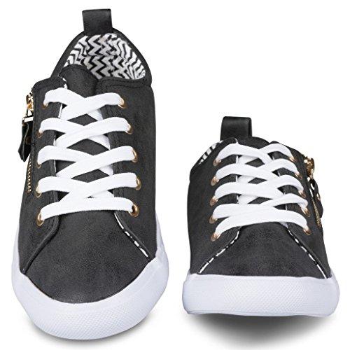 Twisted Frauen Alley Kunstleder Fashion Sneaker mit dekorativen Reißverschluss Schwarz