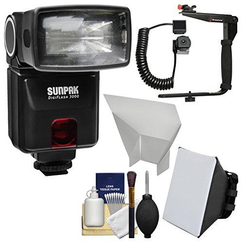 Sunpak DigiFlash 3000 iTTL Electronic Flash Unit with Bracket & Cord + Soft Box + Bounce Reflector + Cleaning Kit for Nikon Digital SLR Camera by SUNPAK