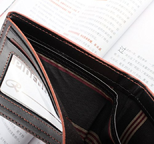Lookatool New Mens Leather Bifold Credit//ID Cards Holder Slim Wallet Brown+Black